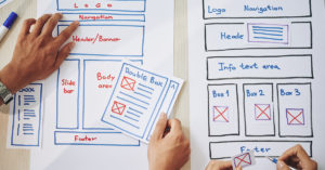 Designers laying out a simple website